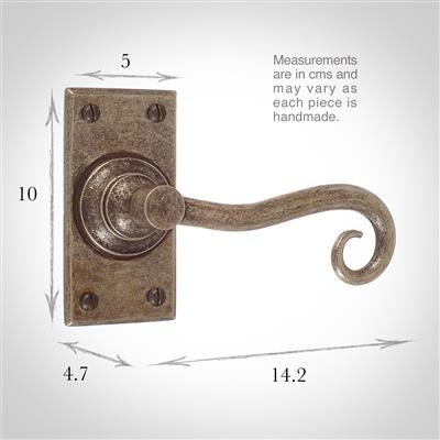 Scrolled Handle, Bristol Short Plate, Antiqued Brass