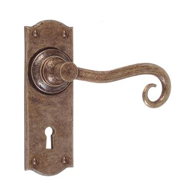 Scrolled Handle, Nowton Keyhole Plate, Antiqued Brass