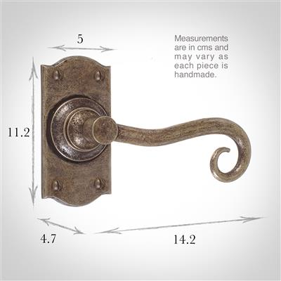 Scrolled Handle, Nowton Short Plate, AntiquedBrass