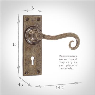 Scrolled Handle, Ripley Keyhole Plate, Antiqued Brass