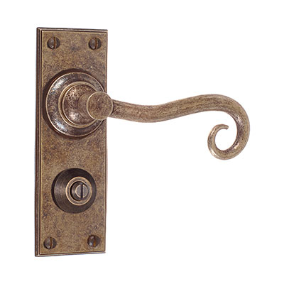 Scrolled Handle, Ripley Privacy Plate, Antiqued Brass