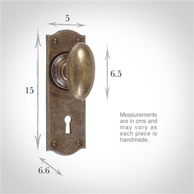 Downley Knob, Nowton Keyhole Plate, Antiqued Brass