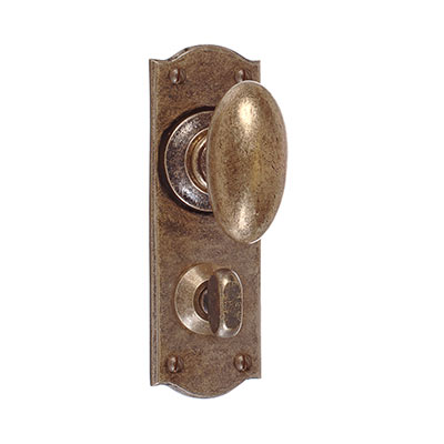 Downley Knob, Nowton Privacy Backplate, AntiquedBrass