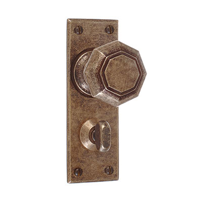 Shaftesbury Knob, Bristol Privacy Plate, AntiquedBrass