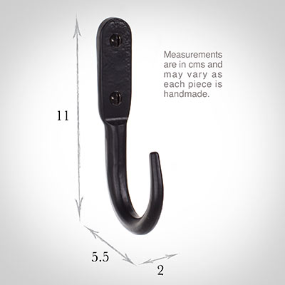 11cm Barn Wall Hook in Matt Black
