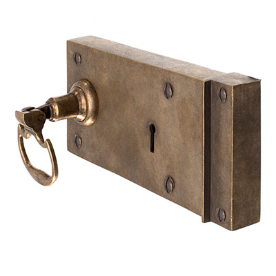 Rim Lock (Right) with Mews Handle, Antiqued Brass