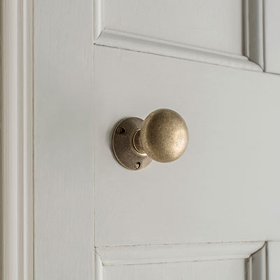 Rim Lock (Right) with Holkham Knob, Antiqued Brass