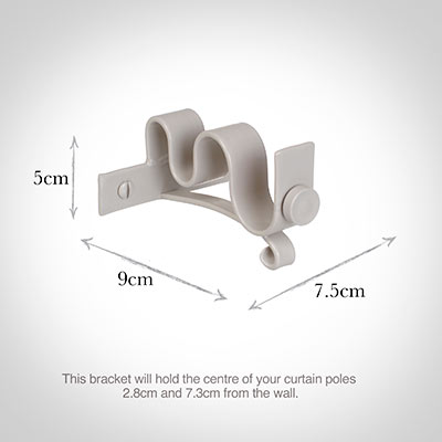 20/12mm Double Pole Centre Bracket in Clay