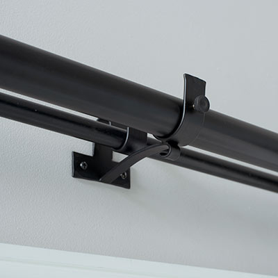 38/20mm Double Pole Centre Bracket in Matt Black