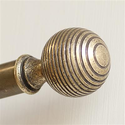 25mm Brass Reeded Ball Finial in Antiqued Brass