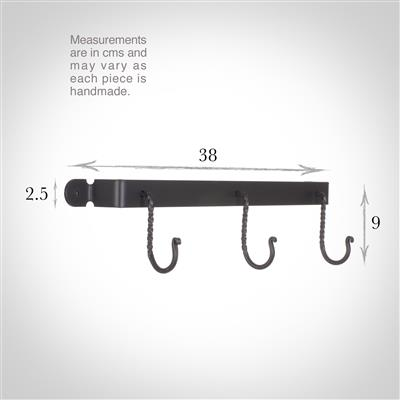 Thornham 3 Hook Rack in Matt Black