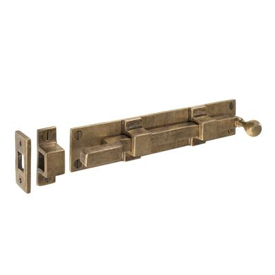 Cranked Priory Door Bolt in Antiqued Brass