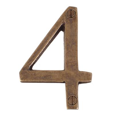 Number 4 in Antiqued Brass