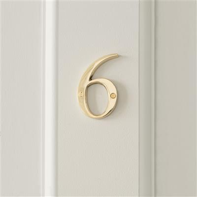 Number 6 in Polished Brass