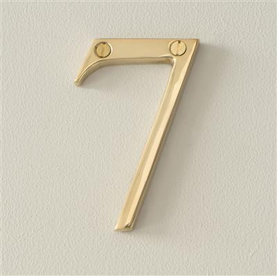 Number 7 in Polished Brass