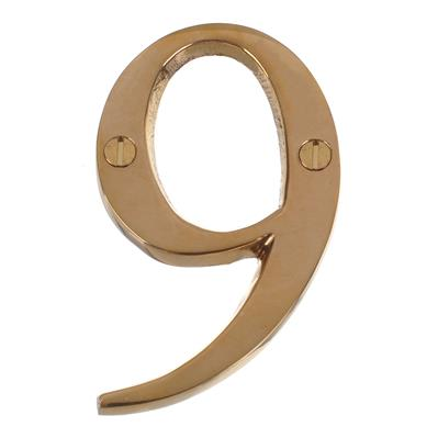 Number 9 in Polished Brass