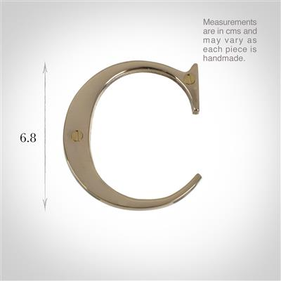 Letter C in Polished Brass