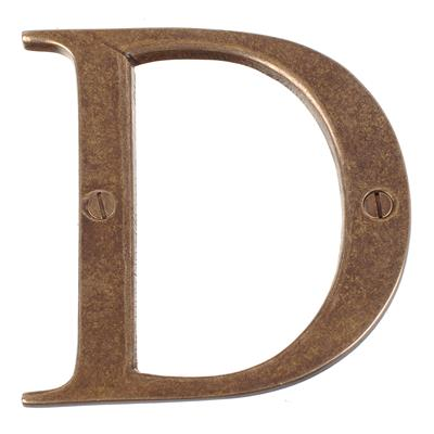 Letter D in Antiqued Brass
