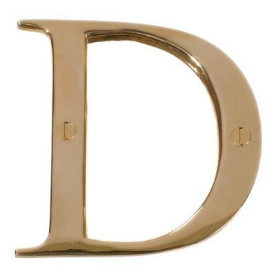 Letter D in Polished Brass