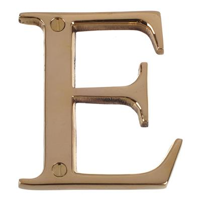 Letter E in Polished Brass