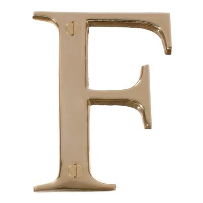 Letter F in Polished Brass
