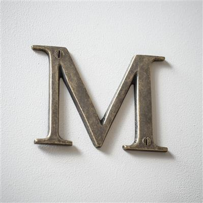 Letter M in Antiqued Brass