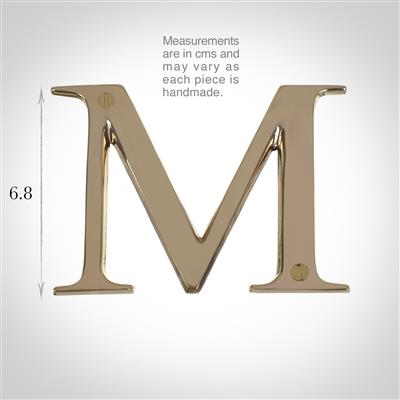 Letter M in Polished Brass