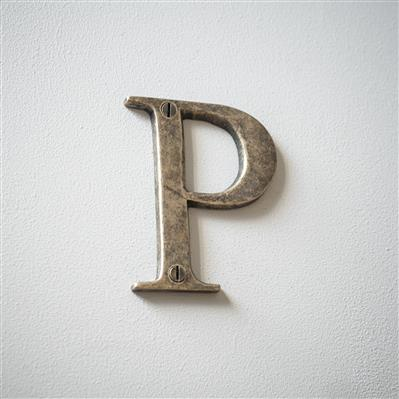Letter P in Antiqued Brass