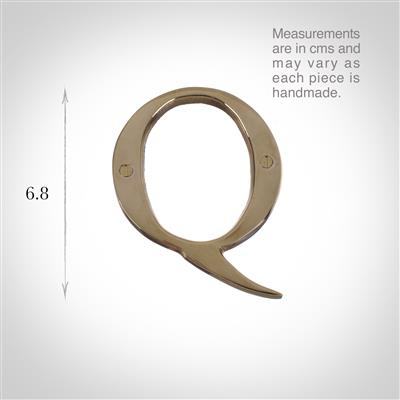 Letter Q in Polished Brass