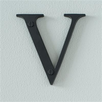 Letter V in Matt Black