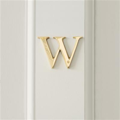 Letter W in Polished Brass