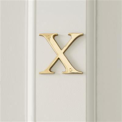 Letter X in Polished Brass