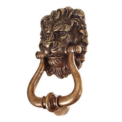 Lions Head Door Knocker In Antiqued Brass