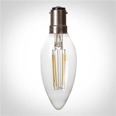 SBC (B15) Candle LED Filament Bulb, Dimmable