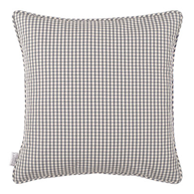 Longford Gingham Cushion Cover in Stone Grey