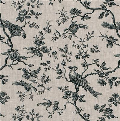 Isabelle Printed Linen Fabric in Black