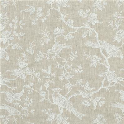 Isabelle Printed Linen Fabric in White
