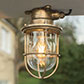 Ceiling Mounted Ship's Light in Antiqued Brass