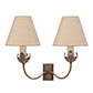 Double Tulip Wall Light in Antiqued Brass