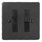 13amp Fused Switch Beeswax Hammered Plate, Black Insert