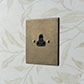 2amp Round Pin Socket Antiqued Brass Bevelled Plate, Black Insert