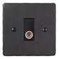 TV Co-axial Outlet BW Hammered Plate, Black Insert
