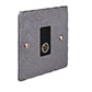 TV Co-axial Outlet Polished Hammered Plate, Black Insert