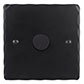 1 Gang Rotary Dimmer Matt Black Hammered Plate