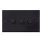 3 Gang Rotary Dimmer Matt Black Bevelled Plate