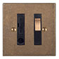 Fused Switch,Cable Outlet, Bevelled, Brass Insert Antiqued Brass