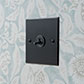 1 Gang Black Dolly Switch Matt Black Bevelled Plate
