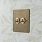 2 Gang Brass Dolly Switch Antiqued Brass HammeredPlate