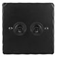 2 Gang Black Dolly Switch Matt Black Hammered Plate