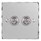 2 Gang Chrome Dolly Switch Nickel Hammered Plate